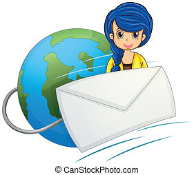 A lady in the middle of the globe and the envelope