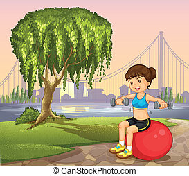 A lady near the old tree exercising
