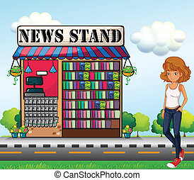 A lady standing beside the news stand - Illustration of a...