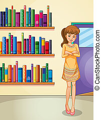 A lady standing in front of the bookshelves