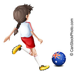 A lady using the ball with the flag of Australia