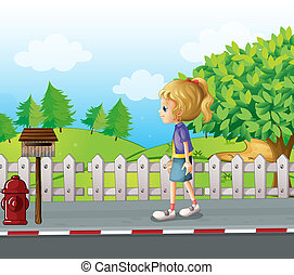 A lady walking in the street alone - Illustration of a lady...
