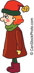 A lady wearing winter clothes vector or color illustration