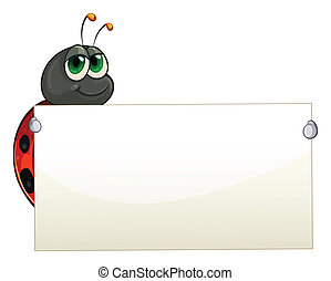A ladybug holding an empty signage - Illustration of a...