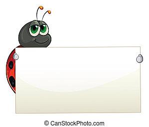 Illustration of a ladybug holding an empty signage on a white background