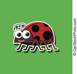 A ladybug sticker character