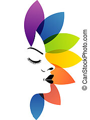 A lady's face with colorful leaves