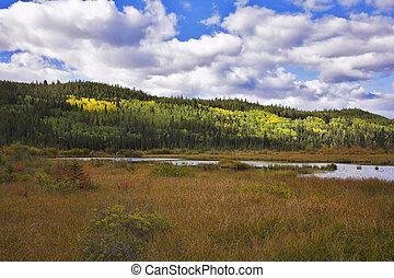a, lago, em, montanhas rochosas, de, canadá