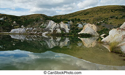 A lake at Saint Bathans, Otago, New Zealand.