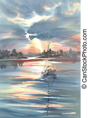 A lake in the evening light landscape watercolor background