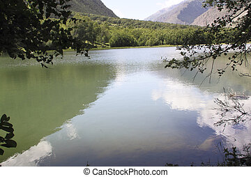 A lake is in mountains