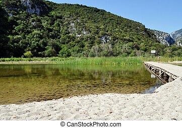 A lake on the beach