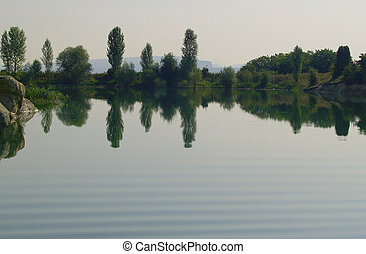 A lake with a mirror image of trees.