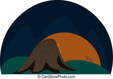A landscape of a rising sun and an anthill vector or color illustration