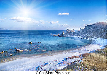 landscape on winter sea,