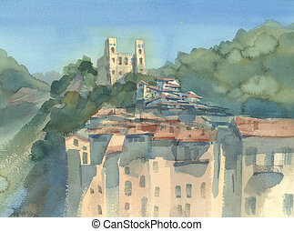 A landscape with an old town and a castle on the hill