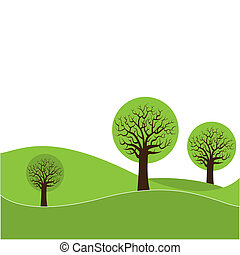 A landscape with three abstract trees and background space for text