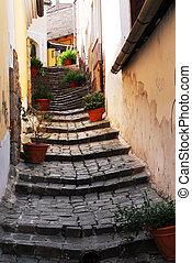 A lane in Szentendre - a side lane between houses in...