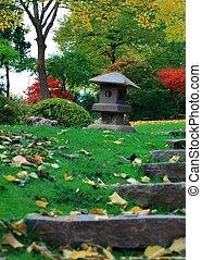 A lantern in a japanese garden