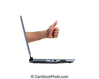 A laptop computer isolated against a white backgroun d