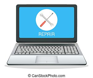 laptop computer with repair logo