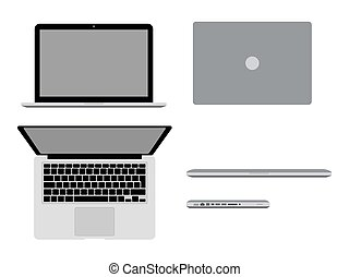 A laptop Pro in different positions Vector illustration