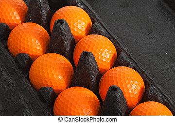 a, laranja, bolas golfe