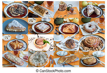 large collage with sweet buns tea, coffee