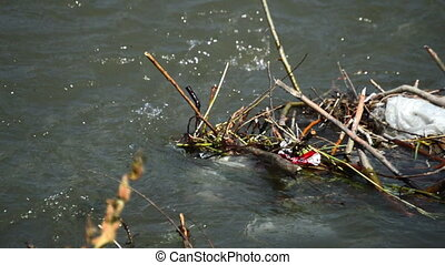 A large amount of trash polluting our waters