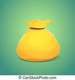 A large bag of gold color, vector illustration