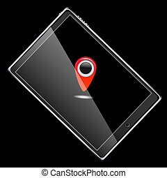 A large black realistic mobile smart touch-sensitive slim tablet computer turned on its side with a red label icon for gps with a glossy screen isolated on a black background. Vector illustration