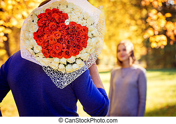 A large bouquet in the shape of a heart