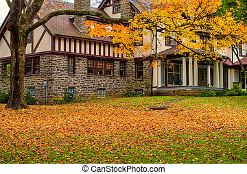A Large Cobblestone House With a Front Lawn Covered in Yellow Leaves