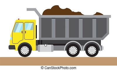 A large dump truck transports soil. Isolated on a white background. Empty space for your logo or text. 4k, 60 fps animation 2d video