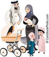 A large family of Arab origin. Vector illustration