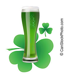 a large glass of green beer