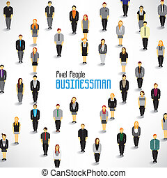 a large group of businessmen gather vector design