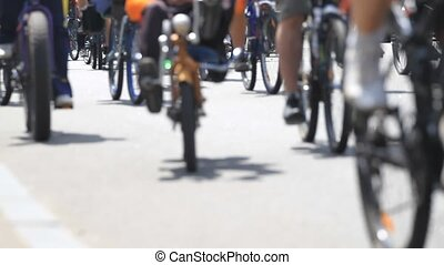 A large group of cyclists