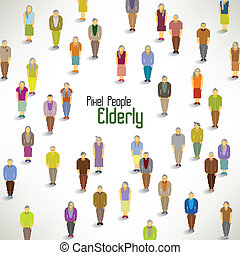 a large group of elderly gather vector design