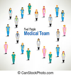 a large group of medical team gather vector design - a large...