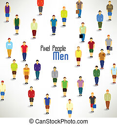 a large group of men gather vector design