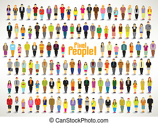 a large group of people gather vector design