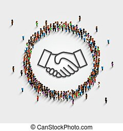 A large group of people in a circle with a sign of a handshake. Vector illustration