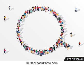 A large group of people in the form of magnifying glass. People search and employee concept.