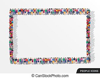 A large group of people in the form of square frame.