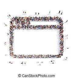 people in the shape of a folder.