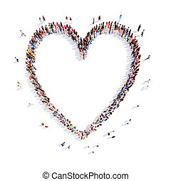 people in the shape of a heart.