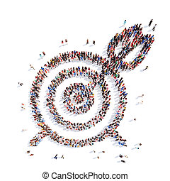 people in the shape of a target with an arrow.