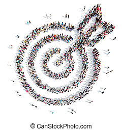 people in the shape of a target with an arrow. - A large...