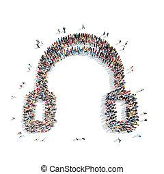 people in the shape of headphones.